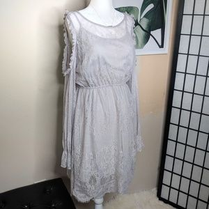 She and Sky Lace Boho Romantic Cold Shoulder Dress